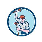 Plumber Holding Wrench Plunger Circle Cartoon by patrimonio