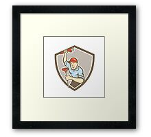 Plumber Wrench Plunger Front Shield Cartoon Framed Print