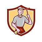 Window Washer Cleaner Squeegee Shield Cartoon by patrimonio