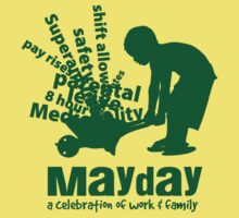 MayDay 2008: a celebration of work and family - Dark Green print by unionswa