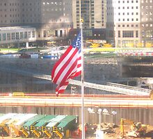 911-Flag at Ground Zero by Mary Kaderabek-Aleckson
