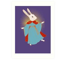 Saint Bunny has your back Art Print