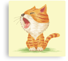 Tabby to yawn Canvas Print
