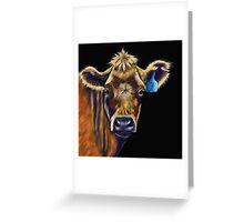 Lucky Number Seven Cow Painting Greeting Card