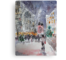 Snowing At Christmas Time Canvas Print