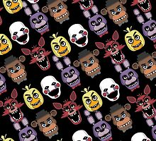 Five Nights At Freddy's Pizzeria Multi-Character All Over Print Patten by DeepFriedArt