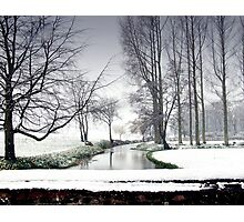 Snowfall at the River Wensum, North Norfolk Photographic Print