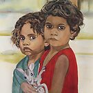 Aboriginal children with kangaroo by Colombe  Cambourne