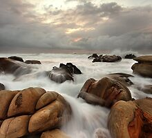 Surging ocean over rocks at Forresters Beach Australia seascape landscape by Leah-Anne Thompson