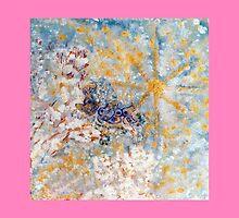 Bluebirds in the Snow Designer Art  by innocentorigina