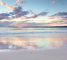 Pretty pastel dawn sunrise at Hyams Beach Australia seascape by Leah-Anne Thompson