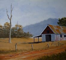 Old Farm Shed - Painting by SharonD