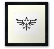 The Legend of Zelda Royal Crest (gray) Framed Print