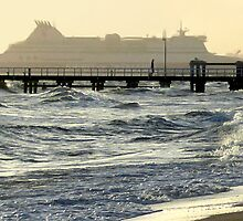 Dusk at Port Melbourne Beach by Roz McQuillan