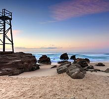 Shark tower at Redhead beach Australia sunrise seascape by Leah-Anne Thompson