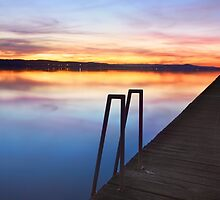 Long Jetty Central Coast sunset colours Tuggerah Lakes seascape by Leah-Anne Thompson
