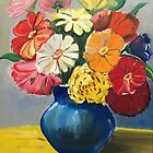 Flowers in a blue vase by Claudia Dingle
