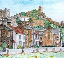 Graphite and Coloured Pencil Drawing of  Richmond, Yorkshire - all products by Dennis Melling