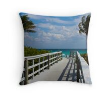 Boardwalk, Sunshine and Palm Trees Throw Pillow