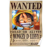 WANTED ! Luffy - One Piece Poster