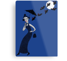 Weird woman with midnight bats Metal Print