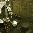 Turkish Village Woman Cooking by Josh Wentz
