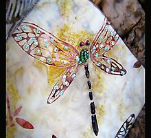 BEADED DRAGONFLY QUILT DETAIL by Jean Gregory  Evans