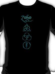 NEW DESIGN - Ancient Pagan Symbols (V) - Super Shiny Teal T-Shirt