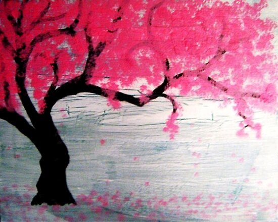 Cherry blossom tree by lunatiqueart redbubble for Cherry blossom mural works