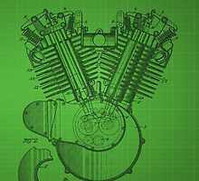 Harley Engine patent - Green by chris2766