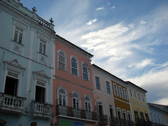 Facade of old houses at Pelourinho, Salvador, Brazil by Laura Jane Coelho
