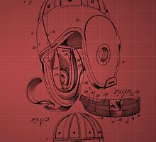 Football Helmet Patent  From 1927 - Burgundy by chris2766