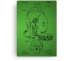 Football Helmet Patent  From 1927 - Green Canvas Print
