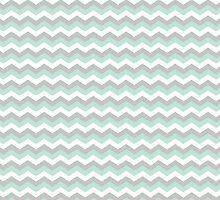 White Mint Green Gray Chevron Zigzag Pattern by TigerLynx