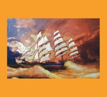 A digital painting of Cutty Sark in Heavy Seas T-Shirt
