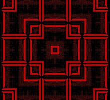 Red and Black Abstract Geometric Pattern  by TammyWinandArt
