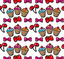 Cute sweet cupcakes, cherries & strawberries by Tee Brain Creative