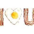Bacon and Egg LOVE by OlechkaDesign
