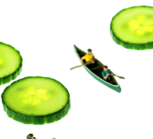 Boating Among Cucumber Slices Sticker