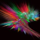 Feathery Bouquet on Black - Abstract Art by Rod Johnson