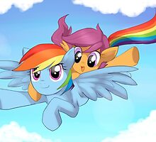 My little pony - Scootaloo and Rainbow Dash by keterok