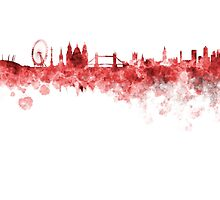 London skyline in red watercolor on white background by paulrommer