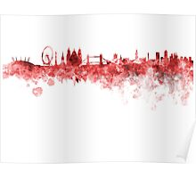 London skyline in red watercolor on white background Poster