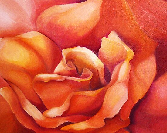 PEACH ROSE ~ OIL ON CANVAS by LacewingDesign