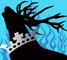 Game of Thrones Baratheon Aqua & Silver Crowned Stag by DragonroseWorks