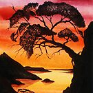 CHINA SUNRISE ~ WATERCOLOUR SILHOUETTE by LacewingDesign