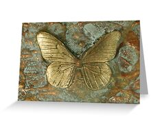 BUTTERFLY ~ OLD GOLD ~ RESIN 3D CANVAS  Greeting Card