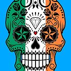 Irish Flag Sugar Skull with Roses by Jeff Bartels