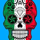 Italian Flag Sugar Skull with Roses by Jeff Bartels