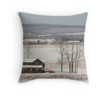 The Fields are White with Snow Throw Pillow